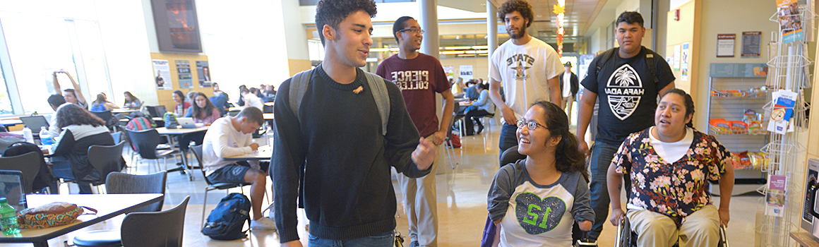 students in college center cafeteria on puyallup campus